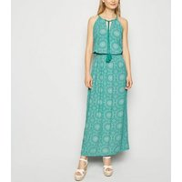 Apricot Green Tile Print Maxi Dress New Look