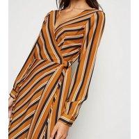 Brave Soul Mustard Stripe Long Sleeve Wrap Dress New Look