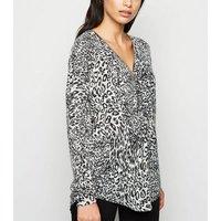 Mela Grey Leopard Zip Front Jumper New Look