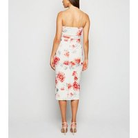 Off White Floral Bustier Bodycon Midi Dress New Look