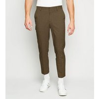 Camel Check Slim Crop Trousers New Look