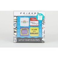 4 Pack Multicoloured Friends Logo Coasters New Look