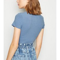 Pale Blue Ribbed Crew Neck Bodysuit New Look