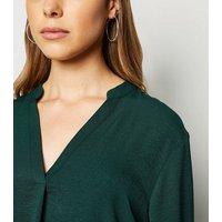 Dark Green Herringbone Tab Long Sleeve Shirt New Look