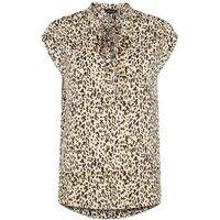 Brown Leopard Print Tie Neck Top New Look