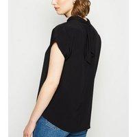 Black High Neck Tie Back Top New Look