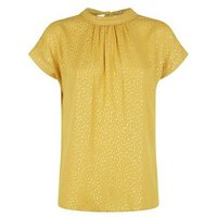Yellow Spot Metallic Tie Neck Top New Look