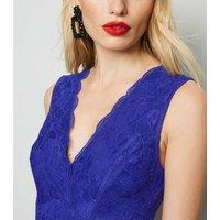 Blue Lace Plunge Bodysuit New Look