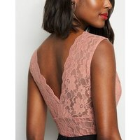 Mid Pink Lace Plunge Bodysuit New Look