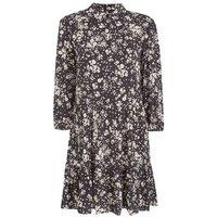 Black Floral Smock Shirt Dress New Look