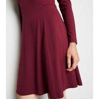 Burgundy Long Sleeve Mini Dress New Look