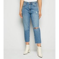Petite Blue Ripped Straight Leg Jeans New Look