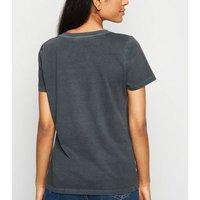Petite Dark Grey Leopard Slogan T-Shirt New Look