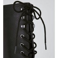 Black Leather-Look Lace Up Knee High Boots New Look