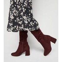 Wide Fit Dark Red Flared Heel Knee High Boots New Look