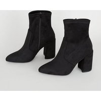 Wide Fit Black Suedette Pointed Sock Boots New Look Vegan