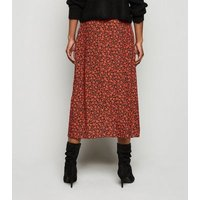 Red Floral Midi Wrap Skirt New Look