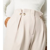 Petite Stone Pleated High Waist Trousers New Look
