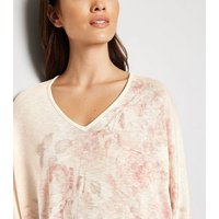 Pale Pink Fine Knit Batwing Sleeve Top New Look