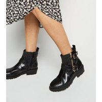 Wide Fit Black Faux Croc Biker Boots New Look