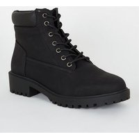 Wide Fit Leather-Look Lace Up Boots New Look