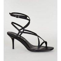 Black Leather-Look Strappy Mid Stiletto Heels New Look Vegan