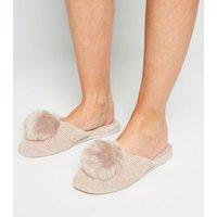 Cream Chenille Pom Pom Wedge Slippers New Look