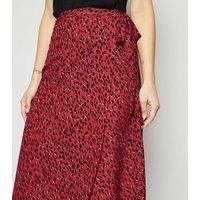 Red Spot Wrap Midi Skirt New Look