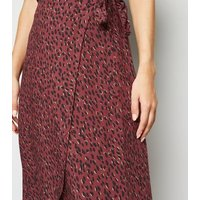 Burgundy Abstract Spot Wrap Midi Skirt New Look
