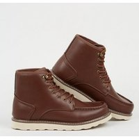 Dark Brown Hiker Boots New Look