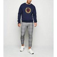 Dark Grey Check Skinny Crop Trousers New Look