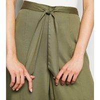 Innocence Khaki Tie Wide Leg Trousers New Look