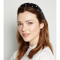 Black Suedette Faux Pearl Embellished Headband New Look