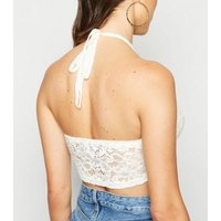 Cameo Rose White Crochet Halterneck Crop Top New Look