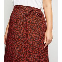 Curves Red Floral Wrap Midi Skirt New Look