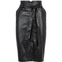 Black Leather-Look High Waist Pencil Skirt New Look