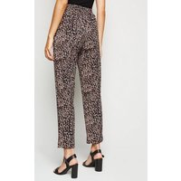 Pink Animal Print Scuba Crepe Trousers New Look