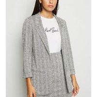 Light Grey Check Jersey Blazer New Look