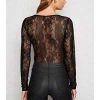 Black Stripe Lace Long Sleeve Bodysuit New Look