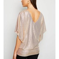 Gold Shimmer Batwing Sleeve Top New Look