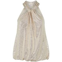 Gold Shimmer Twist Halterneck Top New Look