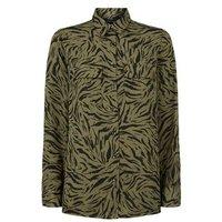 Green Tiger Print Long Sleeve Shirt New Look