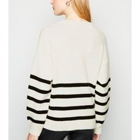 White Stripe Eyelet Side Jumper New Look
