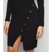 Mela Black Ribbed Long Sleeve Bodycon Dress New Look