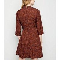 Blue Vanilla Rust Animal Print High Neck Dress New Look