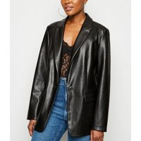 Black Coated Leather-Look Blazer New Look