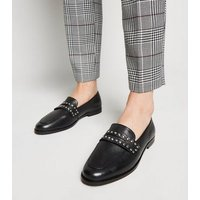 Black Leather Stud Strap Loafers New Look