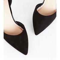 Black Suedette 2 Part Court Shoes New Look Vegan