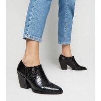 Black Faux Croc Western Shoe Boots New Look Vegan