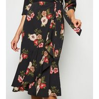 Mela Black Floral Belted Midi Wrap Dress New Look